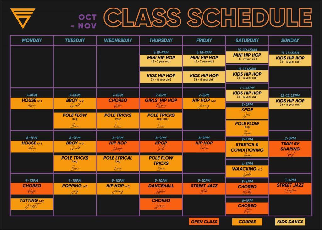 Oct and Nov Schedule