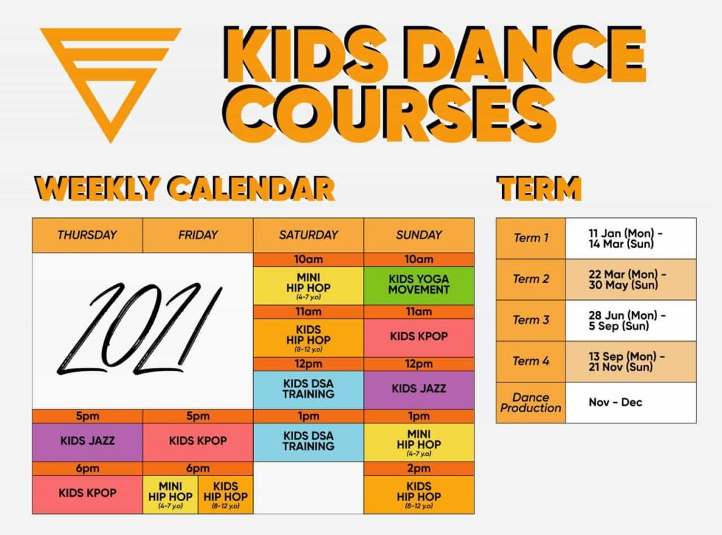 Kids Dance Courses Schedule Poster 2021