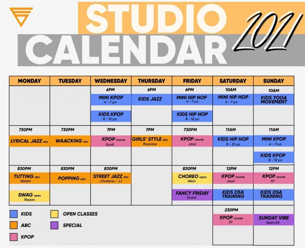EV Studio calendar july 2021